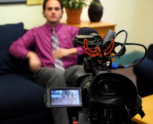 Journalist J. David McSwane sits for an interview with News Corps in the Armory on CU's main campus on Friday, January 23, 2015. (Photo/Roxann Elliott)